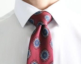 Silk Tie Burgundy Geometric Floral Design. Slim Men's Neckties. Luxury Neckwear. 100% Italian Silk. Wedding Groomsmen Ties. Made In USA