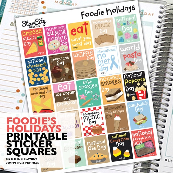 Printable Foodie Holiday sticker box Planner Stickers