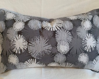 Single Lumbar Decorative Pillow Cover-14 X 23 Inch Gray and White-Geometric Design-Accent Kidney Pillow Cover-Free Shipping.