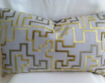 Single Designer 24x14 Inch Geometric Design-Pillow Cover-Offwhite and Gold-Accent Kidney Pillow Cover-Free Shipping.