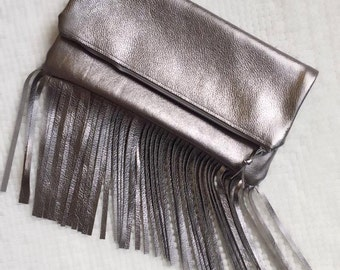 The GEORGIA Metallic Gray Fringe Foldover Leather Clutch