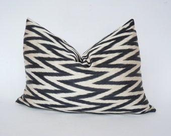 black chevron pillow // black zigzag cushion // chevron ikat pillow