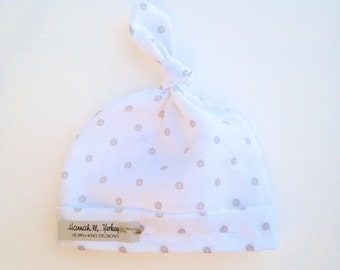 White and Cream Polka Dot-Baby Top Knot Hat-Newborn-12 months