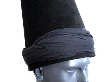 Whirling Dervish Black & black turban Hat, sufi hat ''Sikke''  59~60 cm
