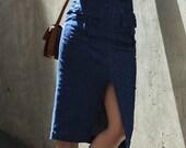 SALE 25% OFF Dark Indigo Denim Split Front Midi Pencil Skirt High Waist Pockets Belt Minimal Retro