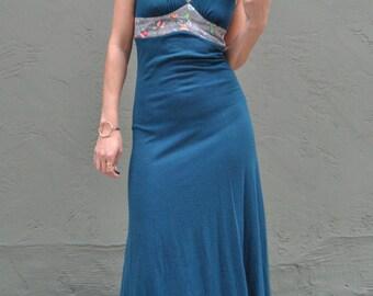 vintage oops california dress, 70s piece, 2 piece dress, long dress, floral print, hippie dress, 60s dress, backless dress, vintage dress