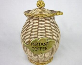 Vintage Tilso Instant Coffee Canister Jar, Basketweave Majolica Glaze