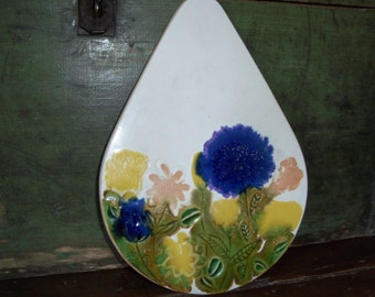 Vintage Bennington Pottery Large Wall Decor Trivet Flowers Vermont