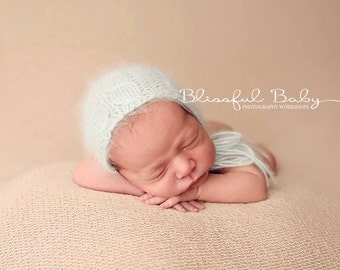 Newborn {Fishtail Cable} Knit Angora Bonnet, Newborn Photography Prop, Several Color Options