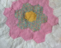 60 handstitched quilt blocks in need of some love - hexagon flowers, some feedsack fabric