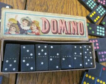 Antique Dominoes Game Pieces Original Box Vintage Game Pieces Dominoes Double Six Dominoes Game