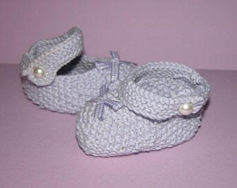 Dinky Mary Jane Hand Knitted Baby Booties 100% organic baby cotton