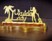 Ukulele Lady Table Top Hand Cut Wood Sign with Seawall Boarder
