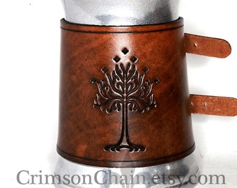 Tolkien-Inspired Mugs - Tree of Gondor - by Crimson Chain leatherworks - SCA Larp Renactment Garb Costume