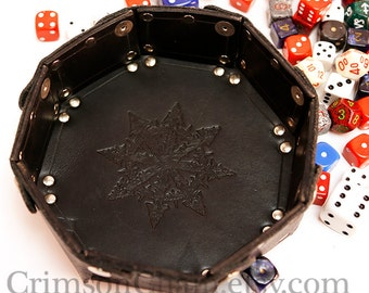 Chaos Star - Black -  collapsible dice tray by Crimson Chain Leatherworks