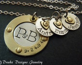 sterling silver Family necklace hand stamped personalized mothers kids name necklace gift for wife