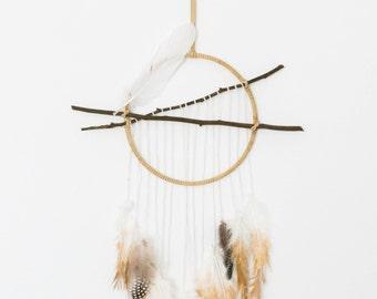 Golden Feather Dream Catcher// Wall Hanging // Dreamcatcher // Wall Decor