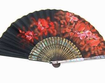 Antique Fan, Hand Painted, Silk, Abalone, Occupied Japan, Antique