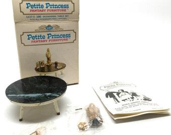 Dollhouse Furniture, Occasional Table Set, 4437-0 100, Vintage, Ideal, Petite Princess, Boxed, c1962