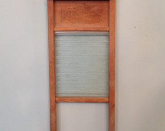 Antique washboard glass wood wooden National Washboard Co No 864 primitive rustic farmhouse country cottage laundry room kitchen home decor