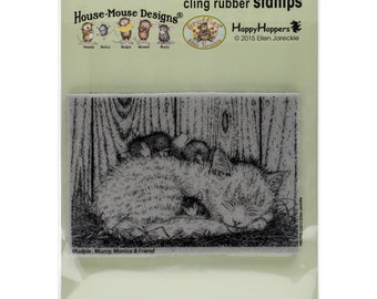 Stampendous!  Cling Stamp House-Mouse Cat Nap