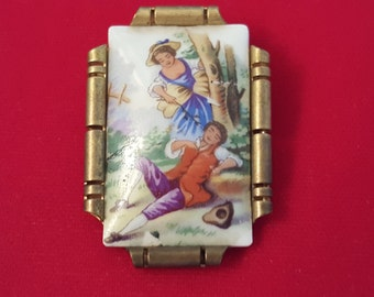 Vintage LIMOGES Hand Painted PORCELAIN Brooch Pin Made in France