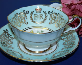 """PARAGON Bone China Teacup and Saucer Set """"To Commemorate The Coronation of HM Queen Elizabeth ll"""""""