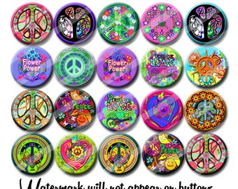 Peace and Love 60's Hippie party favors 1.25 inch pinback buttons pins badges or magnets  Collectible Pins or Party Favors