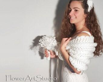 White Wedding Wrap, Bridal Shawl, Bridal Cover Up, Wedding Bolero, White Shrug, Crochet Shawl, White Capelet, Bridal Cape, Bridesmaid Shawl