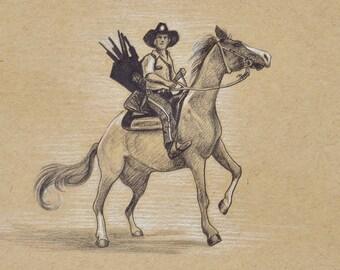 ORIGINAL DRAWING Rick on Horseback Walking Dead Zombies Pencil Pastel Figure Sketch Fine Art Horror Fan Gift Portrait 5 x 7 Inches