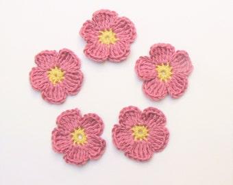 Crochet Flower applique, Crochet Blossoms, Handmade Appliques, Pink Flowers, Sew on Applique, Cotton Applique, Craft supplies, Summer Flower
