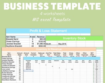 BUSINESS EXCEL Template Profit Loss Inventory Expense Revenue MS Microsoft Spreadsheet Organizer Planner Download Editable Fillable Track