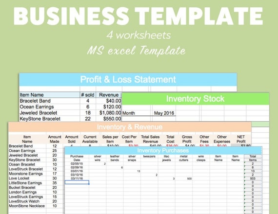 BUSINESS EXCEL Template Profit Loss Inventory Expense Revenue MS Microsoft  Spreadsheet Organizer Planner Download Editable Fillable Track  Excel Profit Loss Template