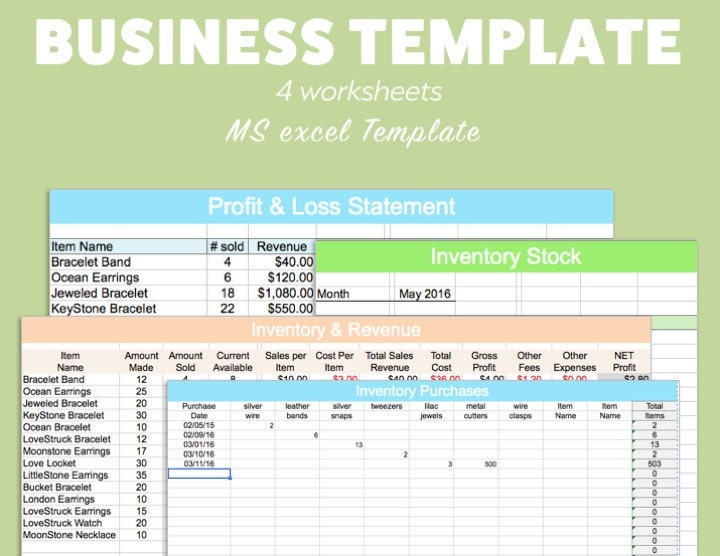 BUSINESS EXCEL Template Profit Loss Inventory Expense Revenue – Excel Profit and Loss Worksheet