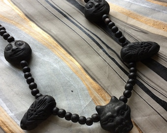 Black Halloween Necklace with Creatures