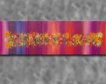 16x60 Abstract Floral Painting on Barn Board Distressed Strips Autumn Colors Modern Rustic Art Wooden Wall Hanging Sculpture AVAILABLE