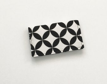 Black & White Business Card Holder, Black ID Wallet, Business Card Case, Quatrefoil Business Card Holder, Gift Card Holder