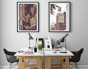 New York photography/large wall art/dorm decor/sepia photography/set of 2 prints building water tower/New York city poster/NYC print