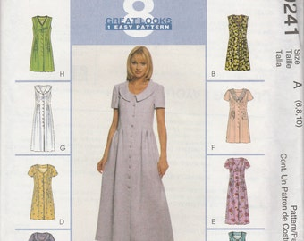 McCall's 9241 Size 6-8-10 Bust 30 1/2 - 32 1/2 Misses' Dress in Two Lengths Sewing Pattern 1998 UnCut
