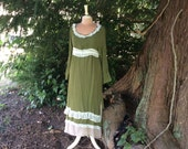 Woodland Fairy Dress Upcycled Moss Green and Beige Linen Fantasy