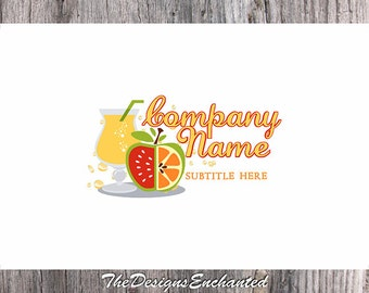 Logo Design OOAK Logo Premade Logo and Watermark Food Logo Restaurant Logo Fruit Logo Juice Logo Wine Logo Custom Logo Business Logo