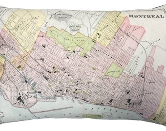 City of Montreal Vintage Map Pillow - FREE SHIPPING