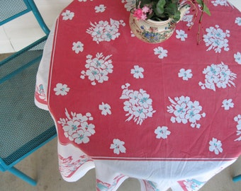 Red and White Vintage square table cloth with geranium print in cotton