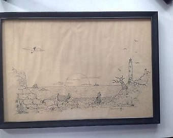 Vintage Ocean Sea Boat Lighthouse Brian McMahon sketch Framed Wall art