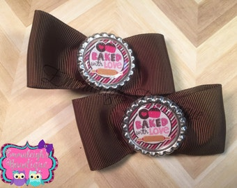 Brown Bowtie Hair Bows Baked With Love Hair Clips Mommy And Daughter Baking Brown And Pink Saying Pigtail Bows