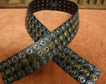 Suzi Roher Leather Pewter and Brass Three Hook Designer Belt