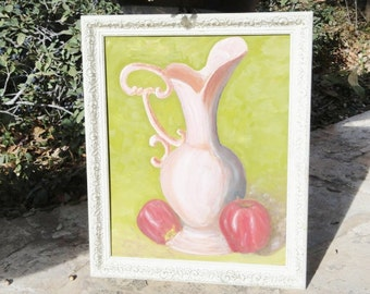 Vintage Shabby Chic Pink and Green Still Life Painting of Pitcher and Apples with Frame