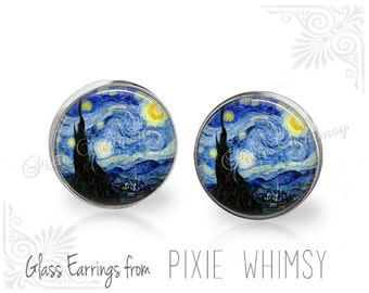 STARRY NIGHT Earrings, Van Gogh Starry Night Stud Earrings, Starry Night Post Earrings, Starry Night Stud Earrings, Art Pierced Earrings