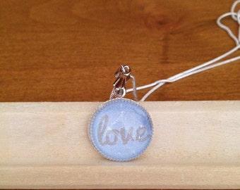 Blue Love Silver Pendant Necklace