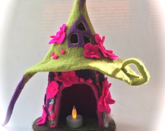 Fairy  House. Hand Felted.Waldorf.Night light. Wet Felted.Waldorf.